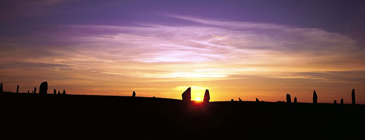Ring of Brodgar sunset in the Orkney Islands