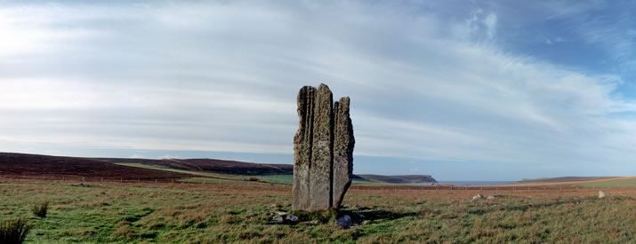 View of the Stone of Setter looking on to the Red Head of Eday, in the Orkney Islands