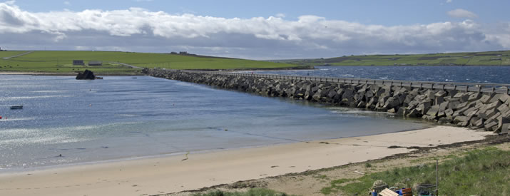 The Churchill Barriers link Burray, South Ronaldsay, Lambs Holm and Glims Holm to the mainland