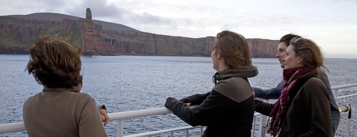 The Old Man of Hoy can be seen from MV Hamnavoe