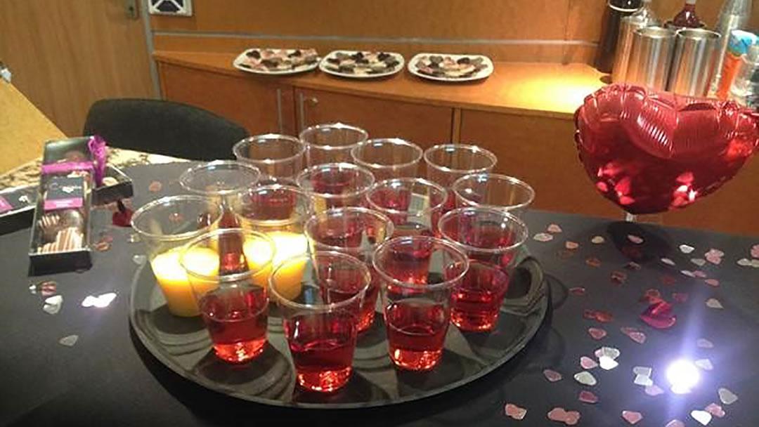 Valentines Day glass of wine