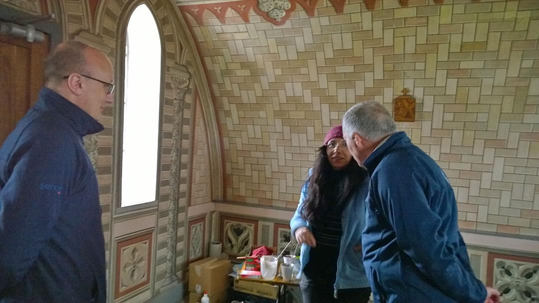 James Linklater, Antonella Papa and Stuart Garrett in the Italian Chapel