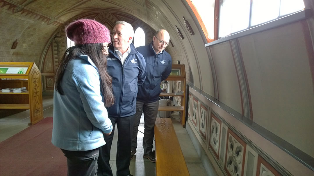 Antonella Papa and Stuart Garrett and James Linklater in the Italian Chapel