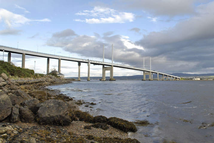The Kessock Bridge outside Inverness carries the A9 road northwards towards Thurso and Scrabster.
