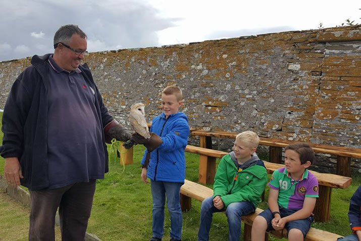 Children at Skaill House Falconry, Orkney