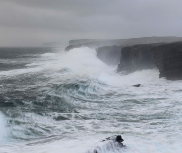 Yesnaby in Orkney during a winter storm