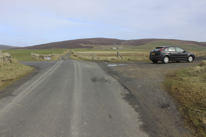 The car park for the walk to the Knowes of Trotty in Orkney