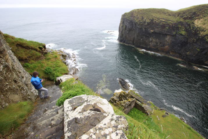 Descending the Whaligoe Steps in Caithness