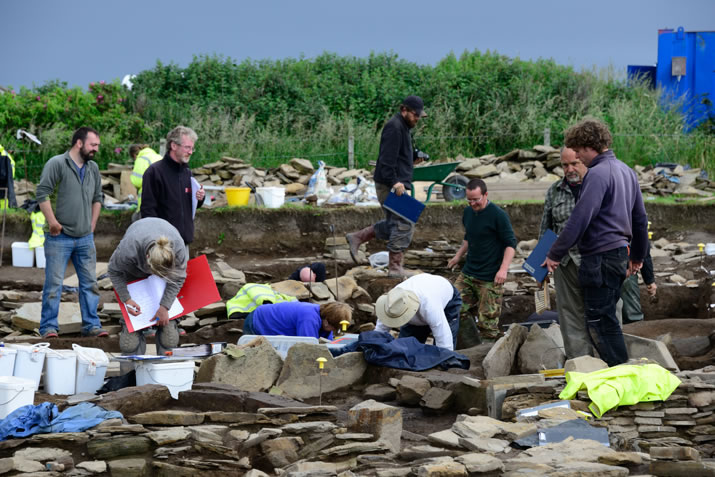 A hive of activity on site at the Ness of Brodgar, Orkney