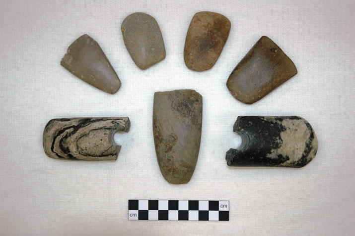 A small selection of some of the polished stone axes and maceheads discovered at the Ness of Brodgar, Orkney
