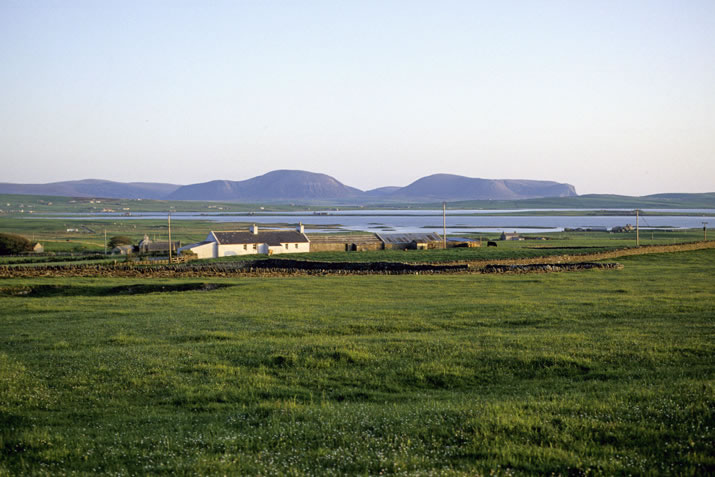 Stoneyhill Road and Harray Loch, Orkney