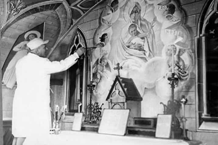 Domenico Chioccetti painting the Italian Chapel in Orkney