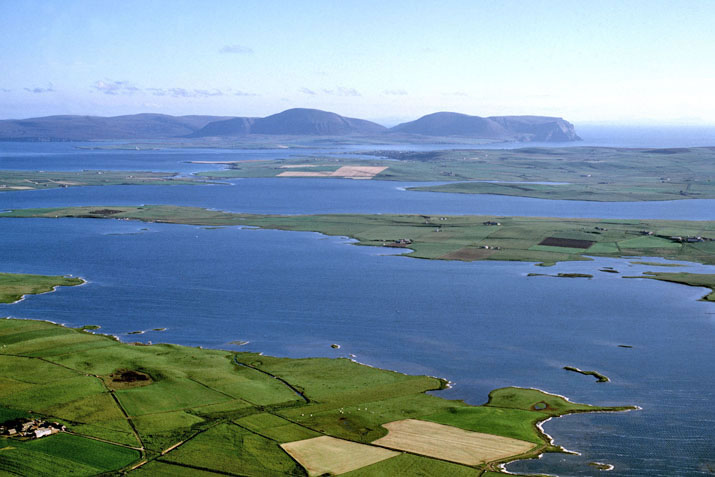 Aerial view of Orkney lochs