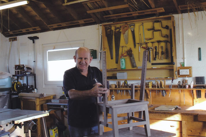 Robert H Towers in his workshop