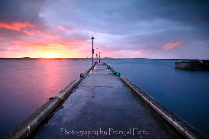 Rousay pier during sunrise by Premysl Fojtu