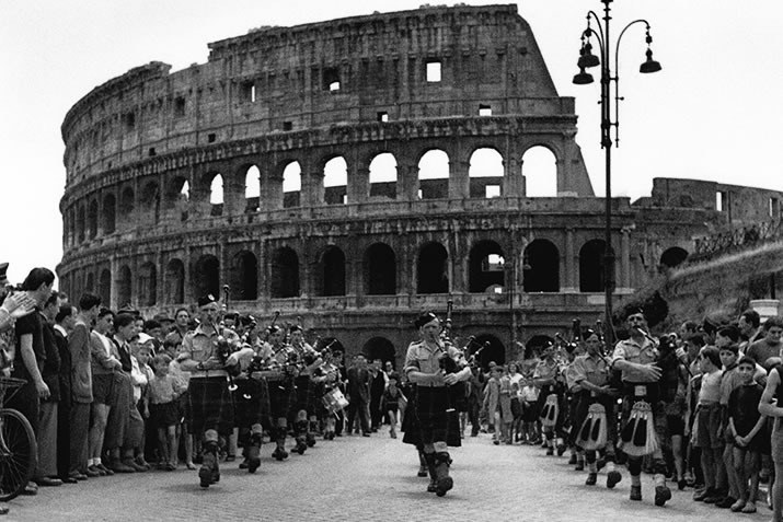 6th Bn Pipe Band, Colosseum, Rome, 8 June 1944, PM W Boyd
