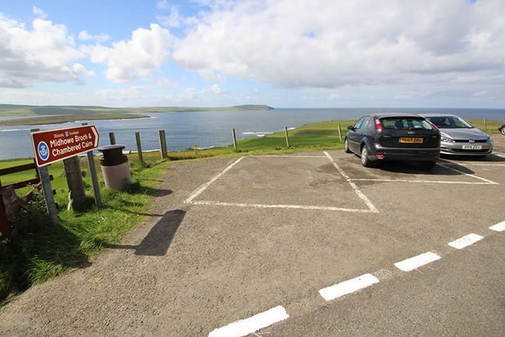 The car park above Midhowe Chambered Cairn and Midhowe Broch, Rousay, Orkney