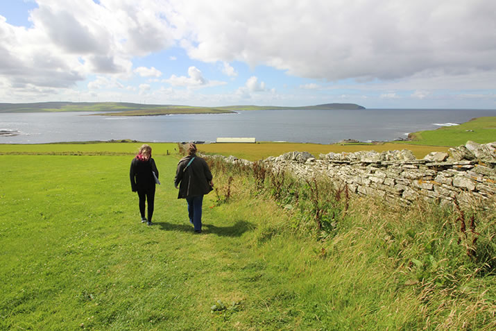 Walk to Midhowe Chambered Cairn and Midhowe Broch, Rousay, Orkney
