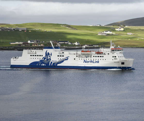 NorthLink's MV Hjaltland leaving the Shetland Islands