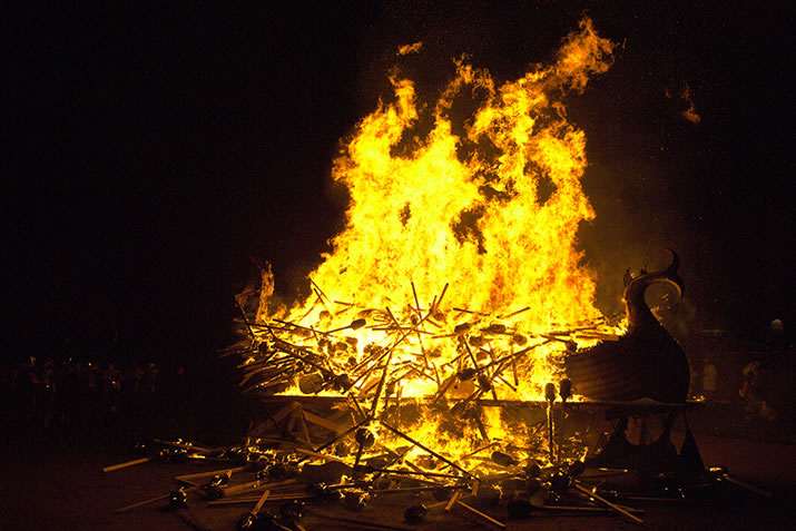 Galley burning during a Shetland Fire Festival