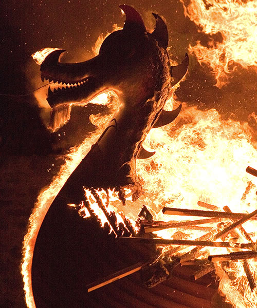 Up Helly Aa galley burning