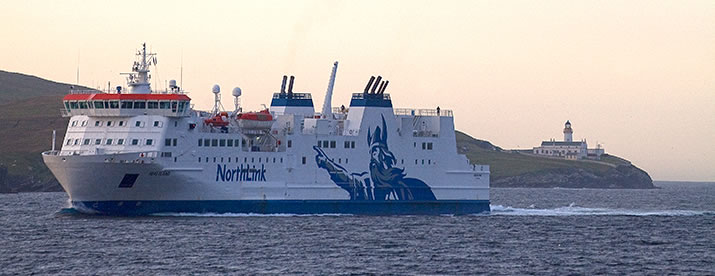 MV Hjaltland sailing past Bressay in Shetland in the final stages of its journey from Aberdeen