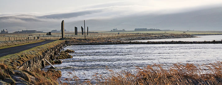 The Standing Stones and Stenness Loch in the Orkney Islands