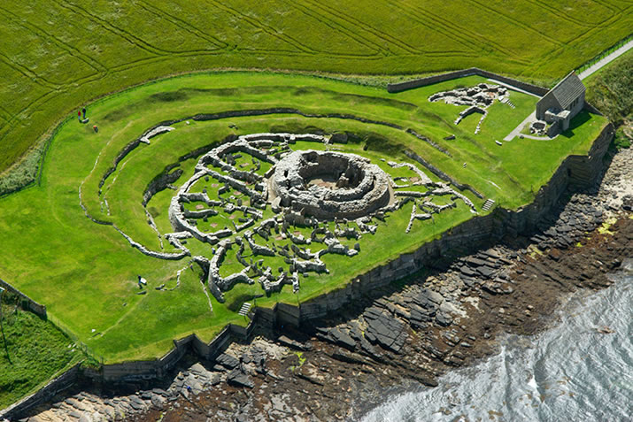 Aerial view of the Broch of Gurness in Evie, Orkney