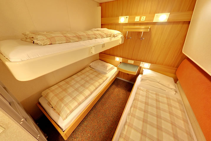 Four berth inner cabin on board NorthLink Ferries ships to Shetland and Orkney