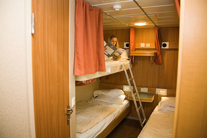 Four berth inner sharing cabin on board NorthLink Ferries ships to Shetland and Orkney