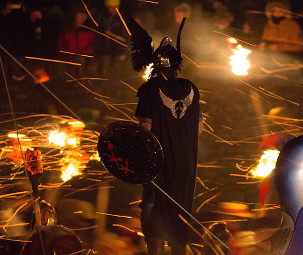 The Guizer Jarl on his galley during Lerwick Up Helly Aa
