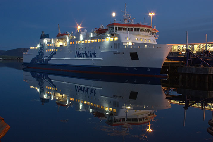 MV Hamnavoe docked in Stromness, Orkney at night