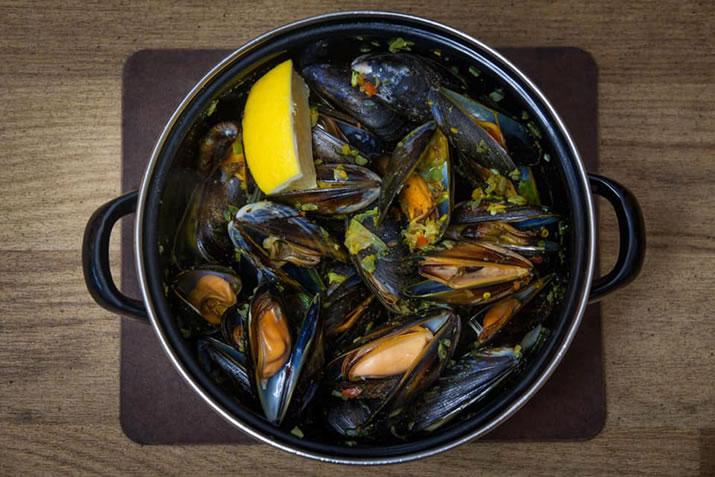 Mussels in a pot at Frankie's Fish and Chip Shop, Shetland