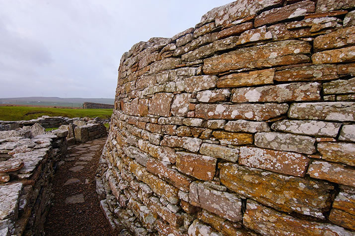 The thick wall of the Broch of Gurness