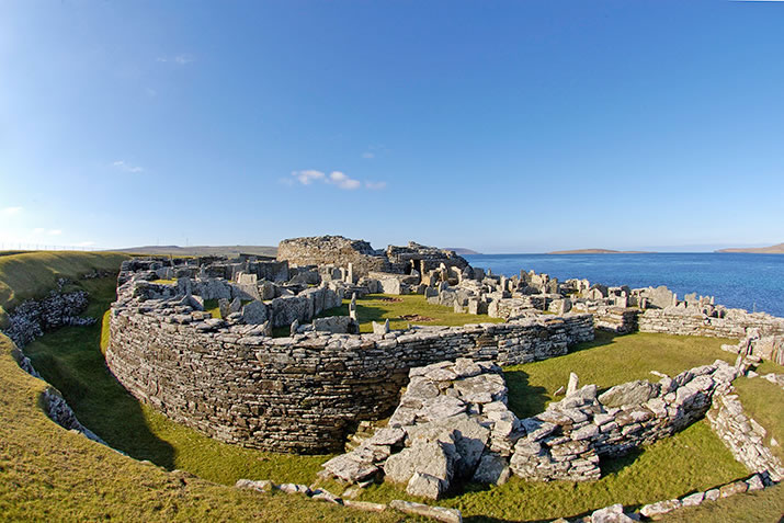 The Broch of Gurness and surrounding buildings
