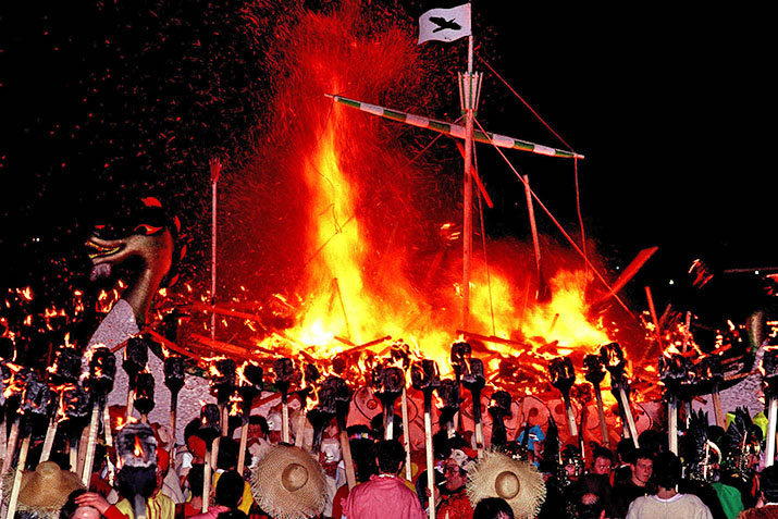 The galley set ablaze during Lerwick Up Helly Aa