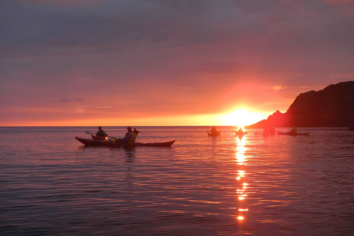 Sea Kayak Tours of Shetland - see glorious sunsets
