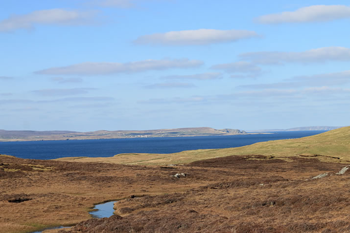 Views across to Burravoe, Yell.