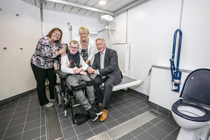 NorthLink introduces Changing Places facilities. (from Left to right) Jenny Whinnett carer, Liam Thom, Jenny Miller CEO PAMIS and Stuart Garrett MD NorthLink Ferries