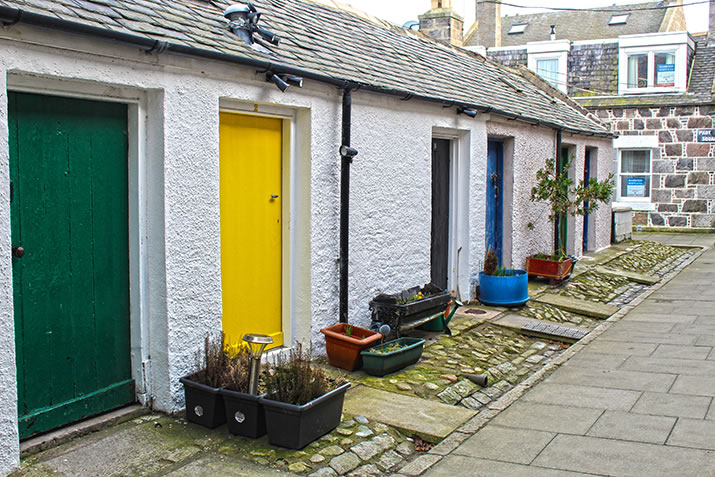 Colourful doors in Footdee, Aberdeen