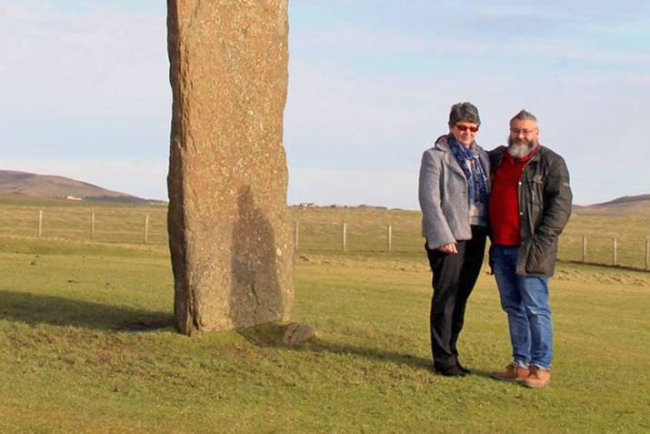 John and Gill Foster at the Standing Stones of Stenness