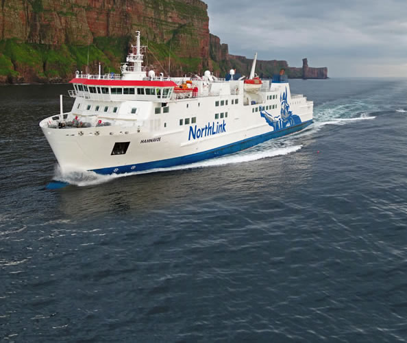 Hamnavoe passing the Old Man of Hoy in Orkney