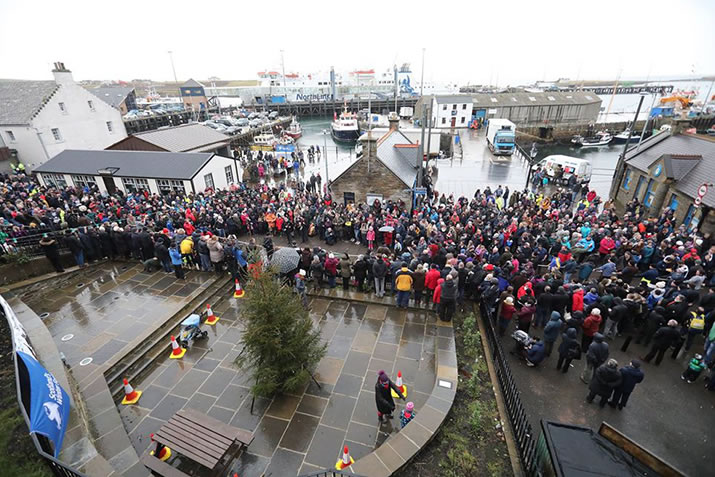 2017 Pierhead crowd for the Stromness Yule Log pull - photo from The Orcadian