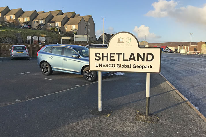 Shetland UNESCO Global Geopark sign at the NorthLink Lerwick Terminal