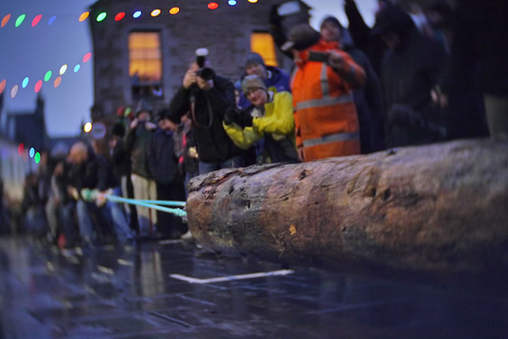 The Stromness Yule Log pull in Orkney