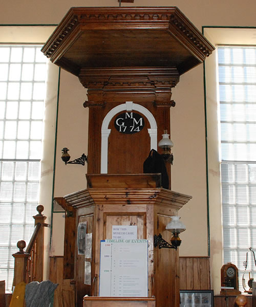 Pulpit where Rev Mackenzie read out eviction notices