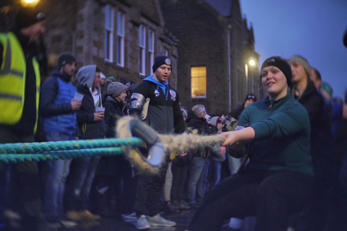 The Stromness Yule Log pull is a traditional tug of war in Orkney