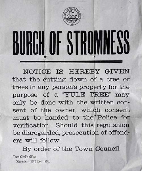 Yule Tree notice - image from the Stromness Museum