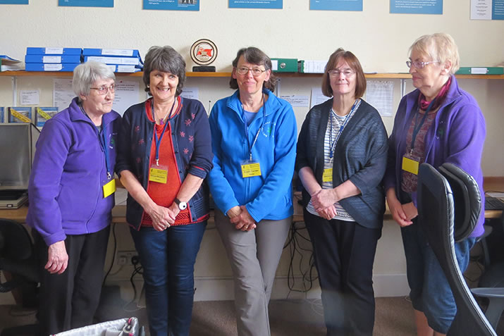 Shetland Family History Society - (from left) Jean Gifford - Vice Chair, Elinor Nicolson - Secretary, Susan Cooper - Chair, Jasmine Moncrieff - Research, Joan Robertson - Membership.