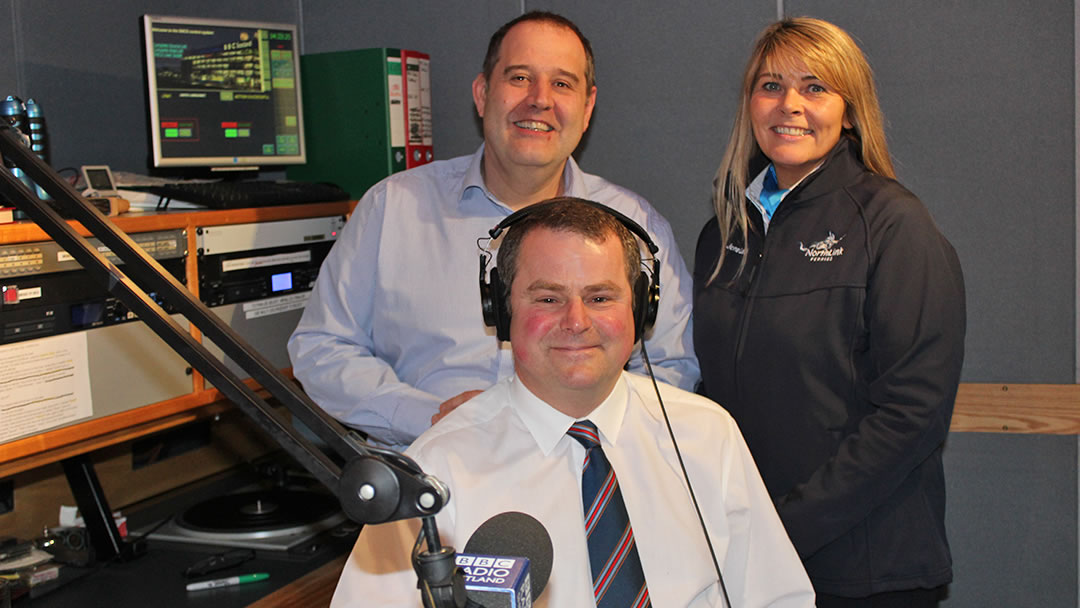 John Johnston from BBC Radio Shetland, Jane Leask from NorthLink and Aubrey Jamieson from the Shetland Fishermen's Mission record the Hjaltland and Hrossey safety announcement